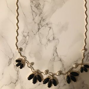 H & M black stone  and pearl necklace